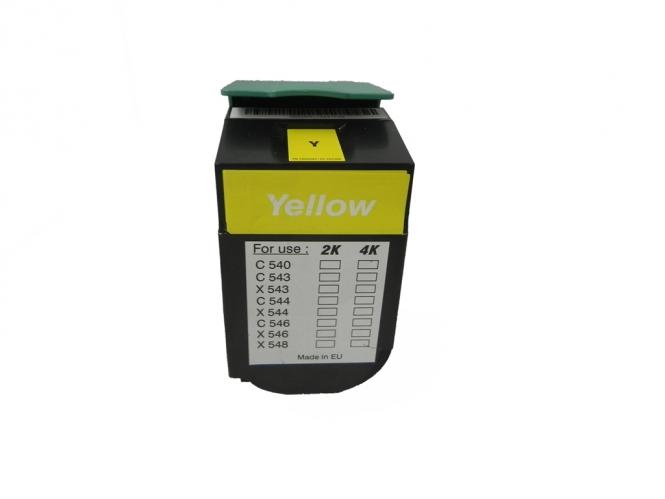 Toner Yellow 4000 S. Lexmark 0C544X1YG kompatibel